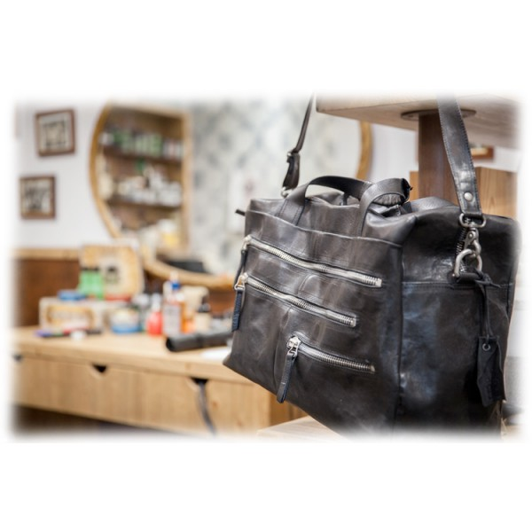 Anonima Barbieri - A.S. 98 - Il Borsone - Vintage Leather Carryall Bag - Handmade Leather Crafted by Italian Master Artisans