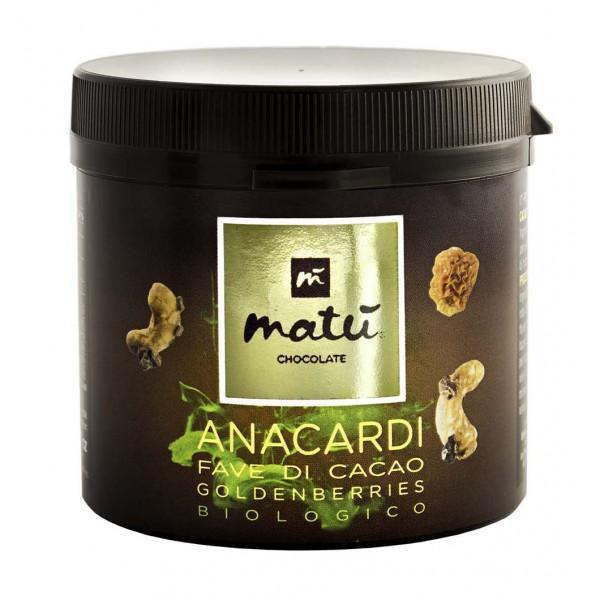 Matù Chocolate - Snack di Anacardi, Granella di Cacao, Golden Berries - Dolcificati con Nettare di Fiori Cocco - Biologici Vegan