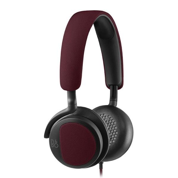 B&O Play - Bang & Olufsen - Beoplay H2 - Rosso Profondo - Cuffie Flessibili con Cavo On-Ear con Microfono e Controllo Remoto