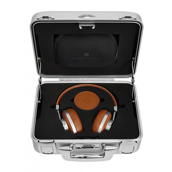 Master & Dynamic - MW60 - Halliburton Case - Silver Metal / Brown Leather - Premium High Quality Wireless Over-Ear Headphones