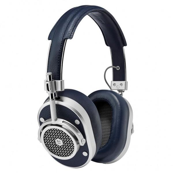 Master & Dynamic - MH40 - Metallo Argento / Pelle Navy - Cuffie Auricolari Premium di Alta Qualità ad Alte Prestazioni