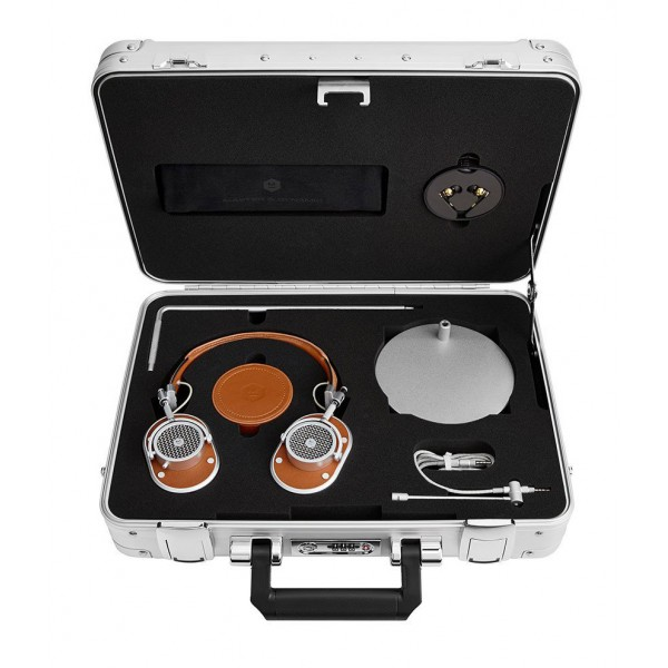 Master & Dynamic - MH40 - Zero Halliburton Kit - Silver Metal / Brown Leather - Premium High Quality Over-Ear Headphones
