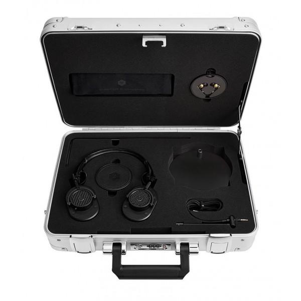 Master & Dynamic - MH40 - Zero Halliburton Kit - Metallo Nero / Pelle Nera - Cuffie Auricolari Premium di Alta Qualità