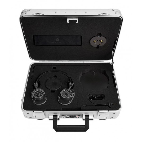 Master & Dynamic - MH40 - Zero Halliburton Kit - Metallo Fucile / Pelle Nera - Cuffie Auricolari Premium di Alta Qualità