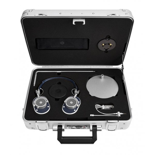 Master & Dynamic - MH40 - Zero Halliburton Kit - Silver Metal / Navy Leather - Premium High Quality Over-Ear Headphones