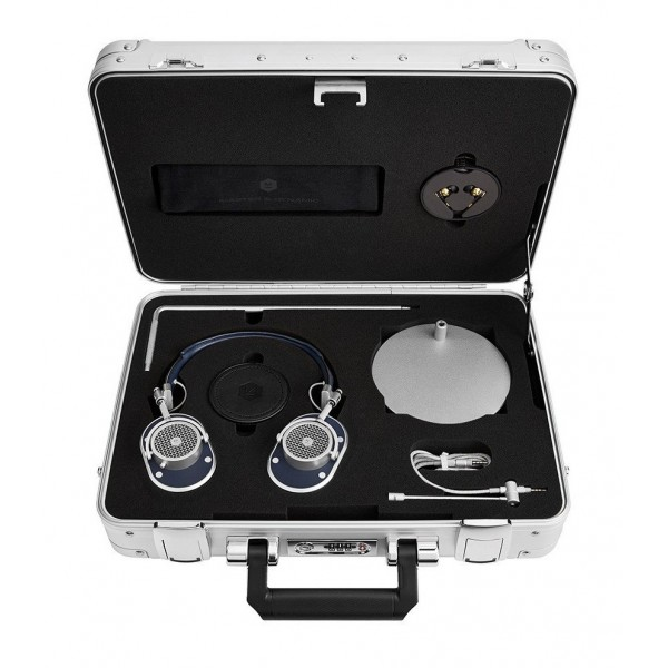 Master & Dynamic - MH40 - Zero Halliburton Kit - Metallo Argento / Pelle Navy - Cuffie Auricolari Premium di Alta Qualità