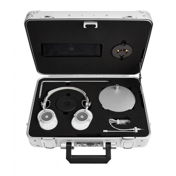 Master & Dynamic - MH40 - Zero Halliburton Kit - Silver Metal / White Leather - Premium High Quality Over-Ear Headphones
