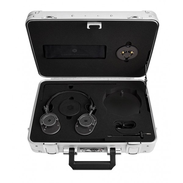 Master & Dynamic - MH40 - Zero Halliburton Kit - Metallo Nero / Alcantara Nera - Cuffie Auricolari Premium di Alta Qualità