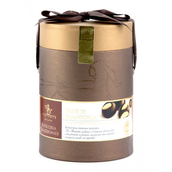 Vincente Delicacies - Classic Almond Cookies Covered With 70% Extra-Dark Chocolate - Cylindrical Box