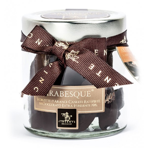 Vincente Delicacies - Candied Orange Peel Covered with 70% Extra-Dark Chocolate - Arabesque - Candied Fruit