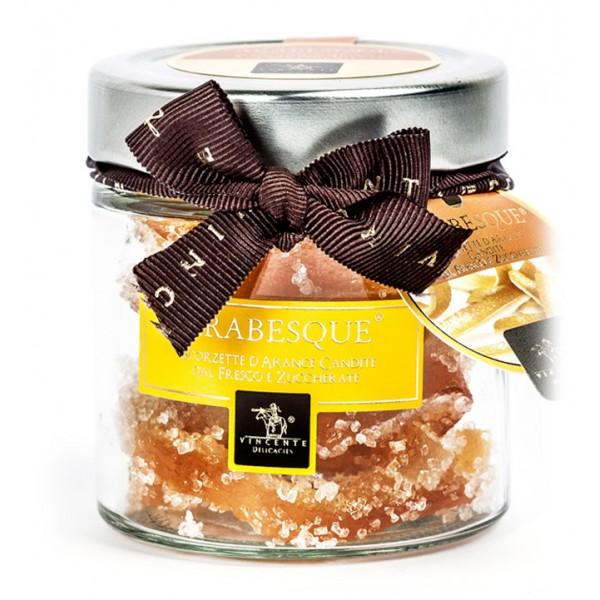 Vincente Delicacies - Scorzette di Arance Candite dal Fresco Ricoperte di Zucchero Granellato - Arabesque - Frutta Candita