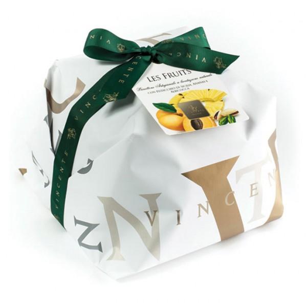 Vincente Delicacies - Panettone con Pistacchio di Sicilia, Ananas e Albicocca - Les Fruits - Artigianale Incartato a Mano