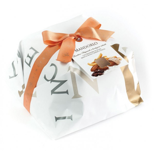 Vincente Delicacies - Panettone with Almonds, Raisin and Candied Orange - Mandorlo - Hand Wrapped Artisan