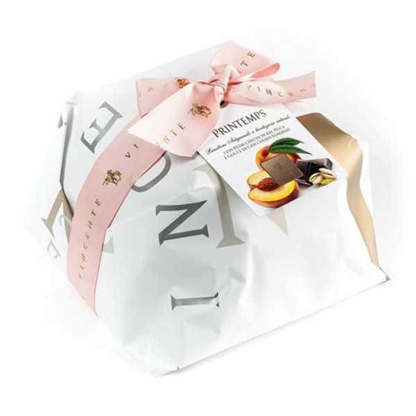 Vincente Delicacies - Panettone with Sicilian Pistachio, Peach and Chocolate - Printemps - Hand Wrapped Artisan