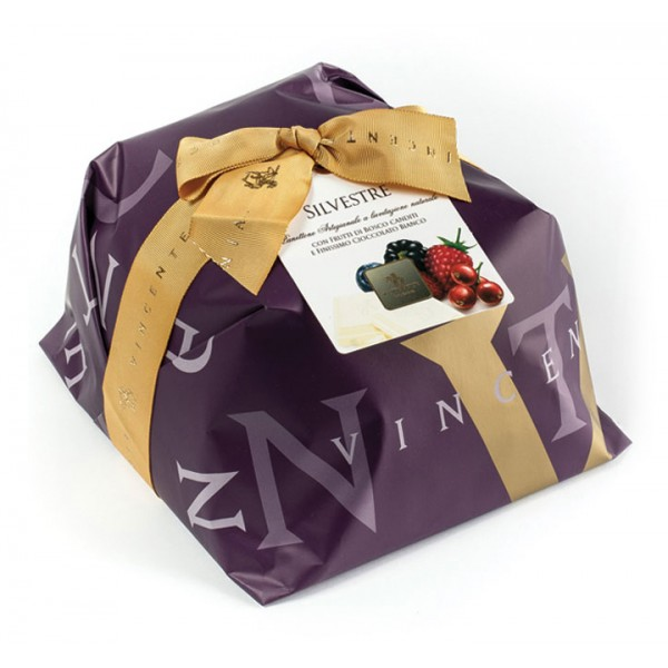 Vincente Delicacies - Panettone Coated with White Chocolate with Wild Fruits - Silvestre - Hand Wrapped Artisan