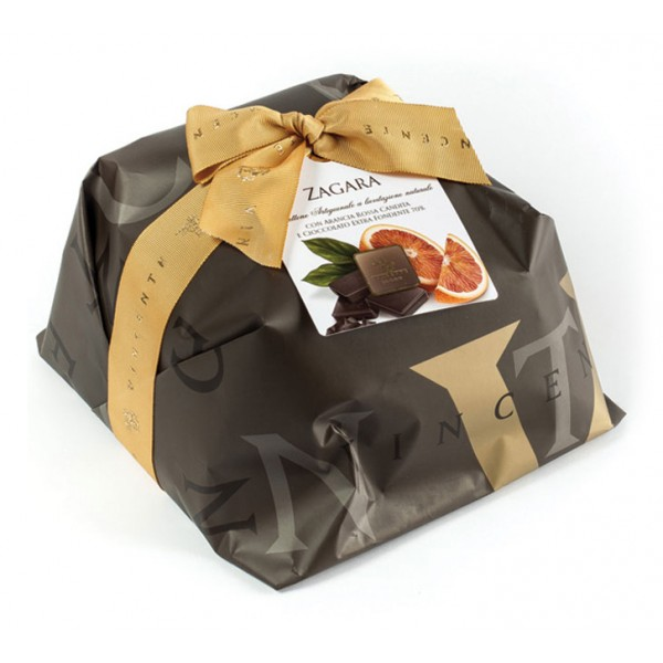 Vincente Delicacies - Panettone Ricoperto di Cioccolato Fondente con Arancia - Zagara - Artigianale Incartato a Mano