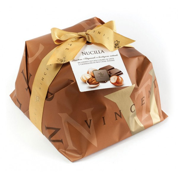 Vincente Delicacies - Panettone Covered with Milk Chocolate and Hazelnuts - Nucilla - Hand Wrapped Artisan