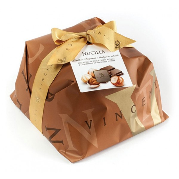 d03aa287f3 Vincente Delicacies - Panettone Covered with Milk Chocolate and Hazelnuts -  Nucilla - Hand Wrapped Artisan - Avvenice