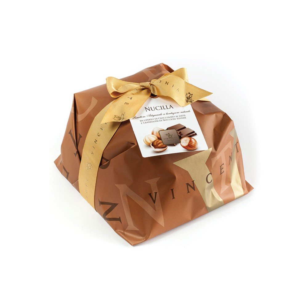 f5edc960a1c Vincente Delicacies - Panettone Covered with Milk Chocolate and Hazelnuts -  Nucilla - Hand Wrapped Artisan - Avvenice