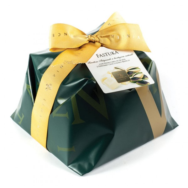 Vincente Delicacies - Big Panettone Covered with White Chocolate with Sicilian Pistachio - Fastuka - Hand Wrapped Artisan