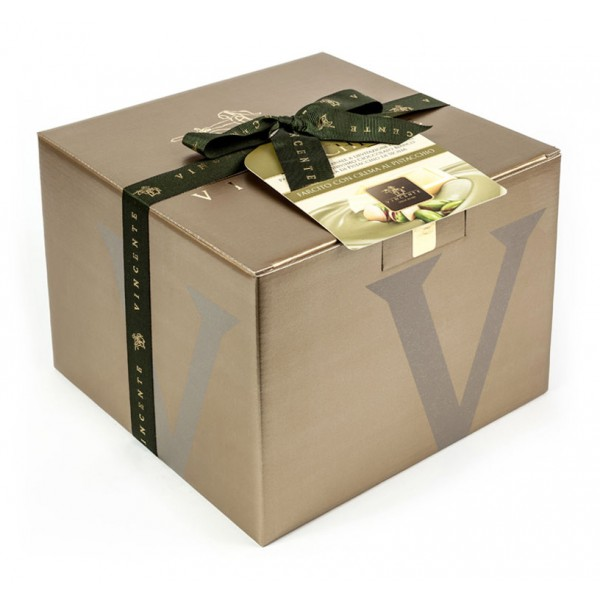 Vincente Delicacies - Panettone Coated with White Chocolate and Sicilian Pistachio Stuffed with Pistachio Cream - Le Chic