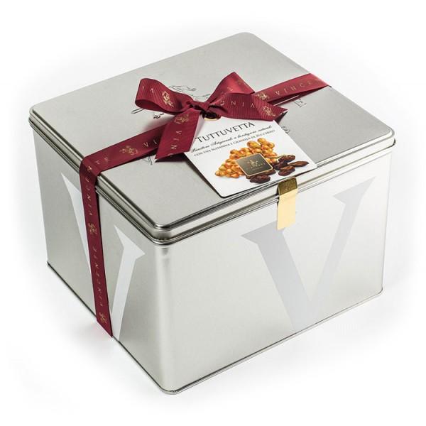 Vincente Delicacies - Panettone Glassato con Uva Sultanina - Tuttuvetta - Artigianale Cofanetto Metallico