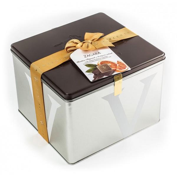 Vincente Delicacies - Panettone Ricoperto di Cioccolato Fondente con Arancia - Zagara - Artigianale Cofanetto Metallico