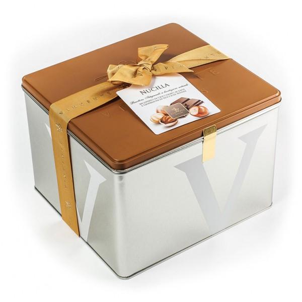 Vincente Delicacies - Panettone Ricoperto di Cioccolato al Latte e Nocciola - Nucilla - Artigianale Cofanetto Metallico