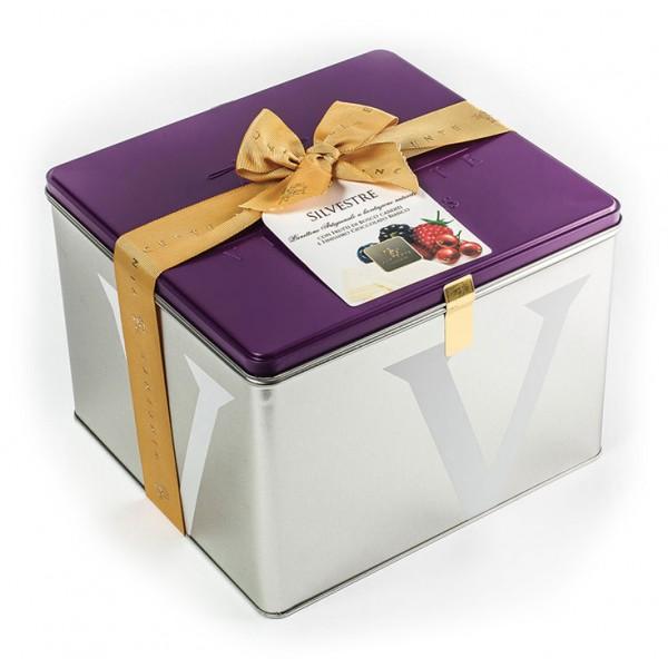 Vincente Delicacies - Panettone Ricoperto di Cioccolato Bianco con Frutti di Bosco - Silvestre - Artigianale Cofanetto Metallico