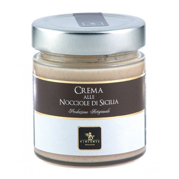 Vincente Delicacies - Sweet Cream Spread with Sicilian Hazelnuts - Artisan Spreadable Creams - 180 g