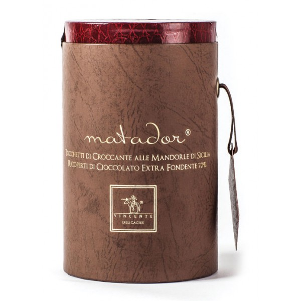Vincente Delicacies - Crunchy Nougat Pieces with Sicilian Almonds and Covered with Extra-Dark Chocolate - Matador Prestige Box