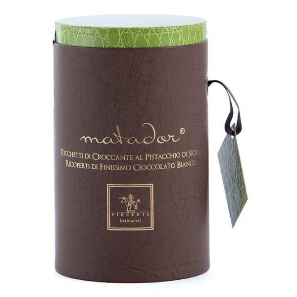 Vincente Delicacies - Tocchetti di Croccante al Pistacchio Sicilia Ricoperti di Cioccolato Bianco - Matador Cilindro Prestige