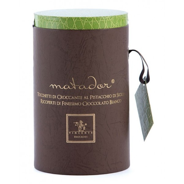 Vincente Delicacies - Crunchy Nougat Pieces with Sicilian Pistachios and Covered with White Chocolate - Matador Prestige Box