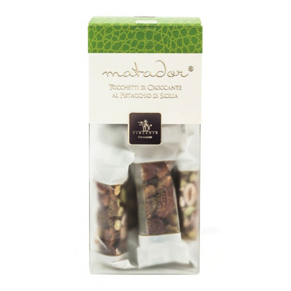 Vincente Delicacies - Crunchy Nougat Pieces with Sicilian Pistachios - Matador Crystal Box