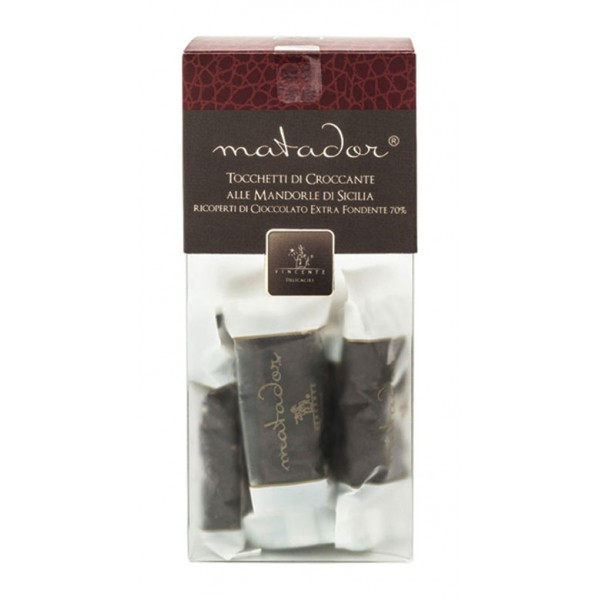 Vincente Delicacies - Crunchy Nougat Pieces with Sicilian Almonds and Covered with Extra-Dark Chocolate - Matador Crystal Box