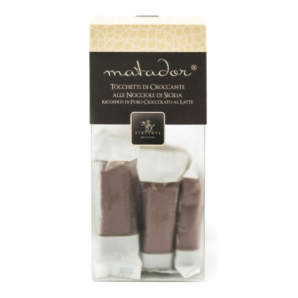 Vincente Delicacies - Crunchy Nougat Pieces with Sicilian Hazelnuts and Covered with Pure Milk Chocolate - Matador Crystal Box