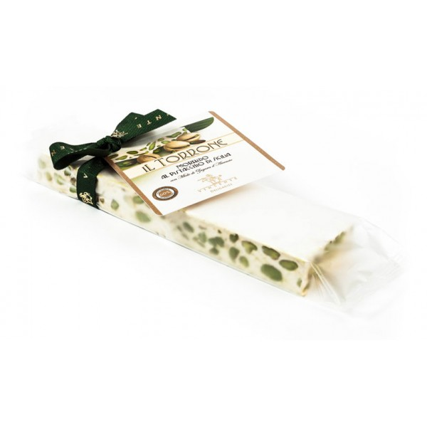 Vincente Delicacies - Soft Nougat Bar with Sicilian Pistachios - Opal Ribbon Flow-Pack