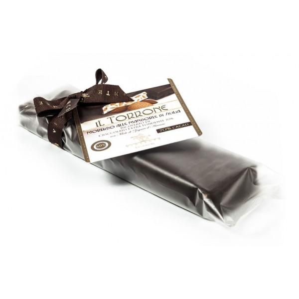 Vincente Delicacies - Torrone Morbido alla Mandorla Sicilia Ricoperto di Cioccolato Extra Fondente 70% - Opal Fiocco