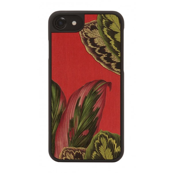 Wood'd - Red Forest Cover - iPhone X - Cover in Legno - Pattern Floreali Collection