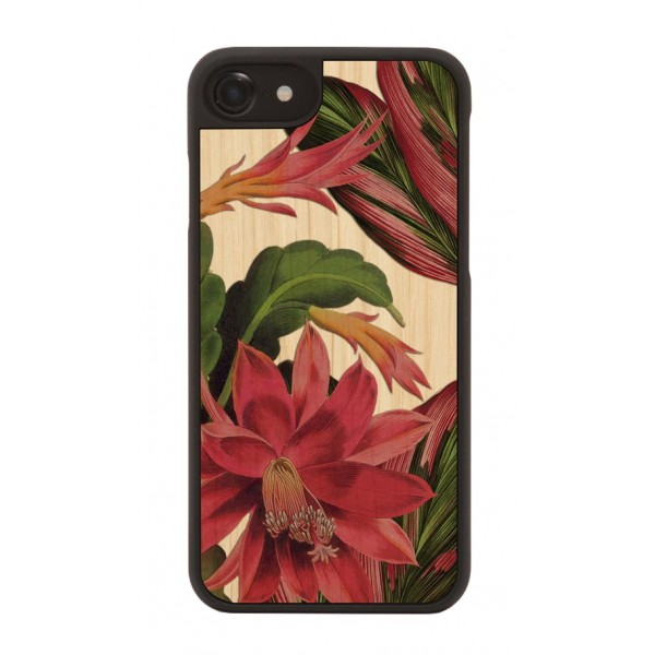 Wood'd - Hawaii Cover - iPhone X - Cover in Legno - Pattern Floreali Collection