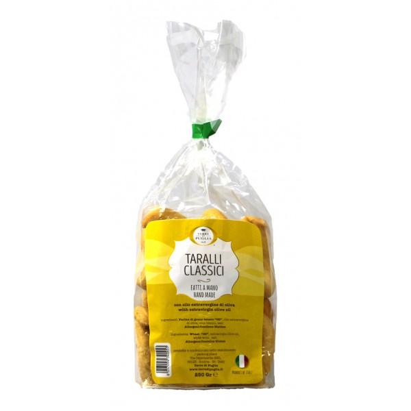 Terre di Puglia - Taralli Tradizionali Fatti a Mano - Classici - Olio Extravergine di Oliva - Bag - Linea Salata