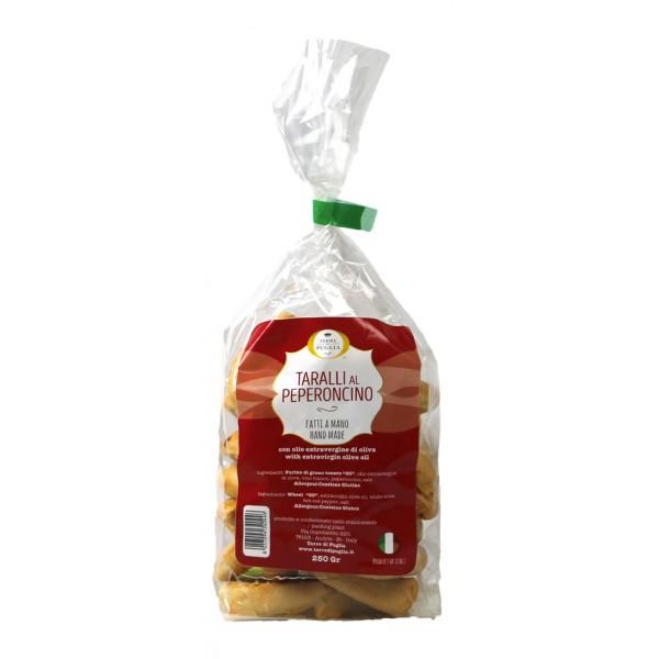 Terre di Puglia - Taralli Tradizionali Fatti a Mano - Peperoncino - Bag - Linea Salata