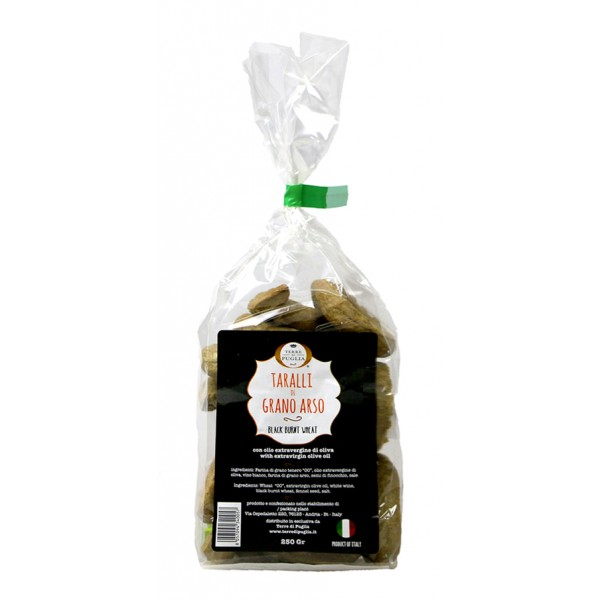 Terre di Puglia - Taralli Tradizionali Fatti a Mano - Grano Arso - Bag - Linea Salata