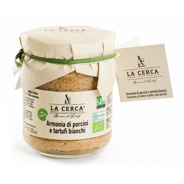 La Cerca - Organic Porcini Mushrooms Cream with White Truffles - Sauces with Truffle - Truffle Excellence - Organic Vegan 180 g