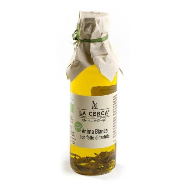 La Cerca - Anima Bianca - Olio con Fette di Tartufo Bianco - Condimenti con Tartufo - Eccellenze al Tartufo - Bio Vegan - 100 ml