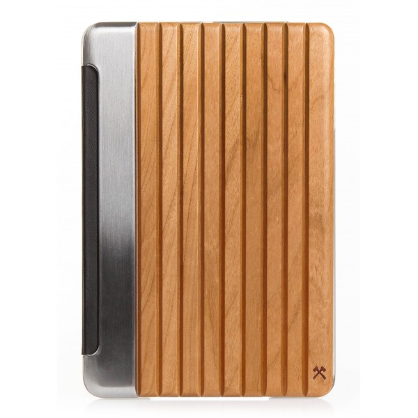 Woodcessories - Ciliegio / Metallo Argento / Pelle / Cover Rigida - iPad Mini 1-3 - Custodia Flip - Eco Guard Metallo e Legno