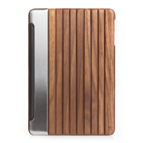 Woodcessories - Noce / Metallo Argento / Pelle / Copertina Rigida - iPad Mini 4 - Custodia Flip - Eco Guard Metallo e Legno