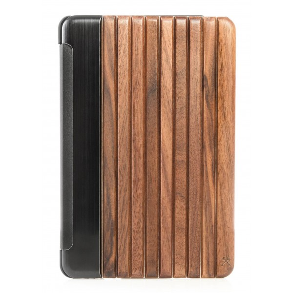 Woodcessories - Walnut / Silver Metal / Leather / Black Hardcover - iPad Mini 4 - Flip Case - Eco Guard Metal & Wood