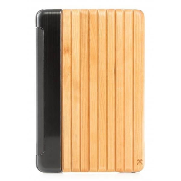 Woodcessories - Ciliegio / Metallo Argento / Pelle / Cover Nera Rigida - iPad Mini 4 - Custodia Flip - Eco Guard Metallo e Legno