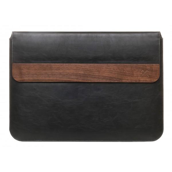 Woodcessories - Noce / Pelle Nera / MacBook Cover - MacBook 11 Air - Custodia Eco Pouch - Borsa MacBook in Legno